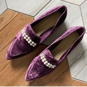 Marc Fisher Velvet Slip-On Loafers in Wine